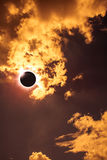 Scientific natural phenomenon. Total solar eclipse with diamond Royalty Free Stock Image