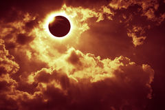 Scientific natural phenomenon. Total solar eclipse with diamond. Amazing scientific natural phenomenon. Total solar eclipse with diamond ring effect glowing on Royalty Free Stock Images