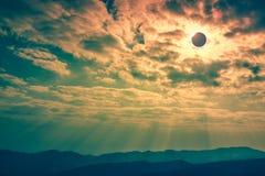 Scientific natural phenomenon. Total solar eclipse with diamond Stock Photo
