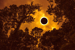 Scientific natural phenomenon. Total solar eclipse glowing on sk. Amazing scientific natural phenomenon. Prominence and internal corona. Total solar eclipse royalty free stock photography