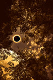 Scientific natural phenomenon. Total solar eclipse glowing on sk Royalty Free Stock Images
