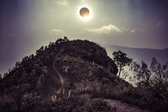 Scientific natural phenomenon. Total solar eclipse glowing on sk Stock Images