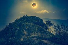 Scientific natural phenomenon. Total solar eclipse glowing on sk Stock Photography