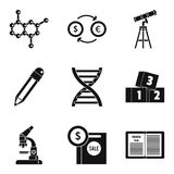 Scientific report icons set, simple style Royalty Free Stock Images