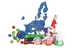 Scientific research in European Union concept, 3D rendering Royalty Free Stock Photos