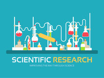 Scientific research in flat design background concept. laboratory equipment supplies with chemistry tools. Icons for Royalty Free Stock Images