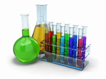 Cientific research. Glass test tubes with reagent Stock Image