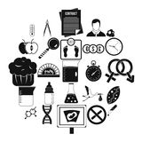 Scientific research icons set, simple style. Scientific research icons set. Simple set of 25 scientific research vector icons for web isolated on white Stock Image