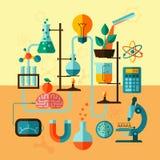 Scientific research laboratory template poster Stock Image
