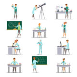 Scientific Research Retro Cartoon Icons Collection Stock Image
