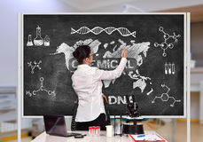 Scientific researcher drawing chemical concept Stock Photo