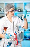 Scientific researcher in a lab Stock Photo