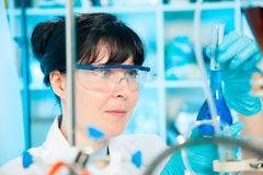 Scientific researcher in a lab. Scientific researcher holding at a liquid solution in a lab Stock Photos