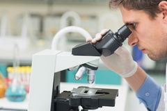 Scientific researcher using microscope in the laboratory Stock Image