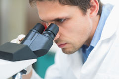 Scientific researcher using microscope in the laboratory. Extreme Close up of a male scientific researcher using microscope in the laboratory Stock Images