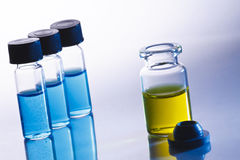 Scientific sample bottles stock photos