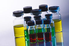 Scientific sample bottles Royalty Free Stock Photos