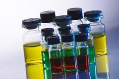 Scientific sample bottles Royalty Free Stock Photos
