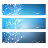 Scientific set of modern vector banners. DNA molecule structure with connected lines and dots. Science vector background Royalty Free Stock Photos