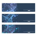 Scientific set of modern vector banners. DNA molecule structure with connected lines and dots. Science vector background. Medical, tecnology, chemistry design Royalty Free Stock Photos