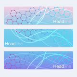 Scientific set of modern vector banners. DNA molecule structure with connected lines and dots. Science vector background Stock Image