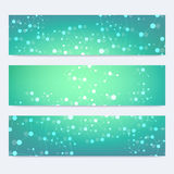 Scientific set of modern vector banners. DNA molecule structure with connected lines and dots. Science vector background Stock Photo