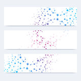 Scientific set of modern vector banners. DNA molecule structure with connected lines and dots. Science vector background. Medical, tecnology, chemistry design stock image