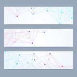 Scientific set of modern vector banners. DNA molecule structure with connected lines and dots. Science vector background Royalty Free Stock Photo