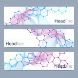 Scientific set of modern vector banners. DNA molecule structure with connected lines and dots. Science vector background. Medical, tecnology, chemistry design Stock Photography