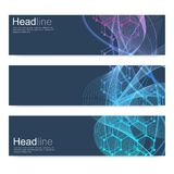 Scientific set of modern vector banners. DNA molecule structure with connected lines and dots. Science vector background. Medical, tecnology, chemistry design royalty free illustration