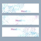 Scientific set of modern vector banners. DNA molecule structure with connected lines and dots. Scientific and technology. Concept. Wave flow graphic background royalty free illustration