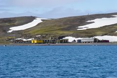 Scientific station in Antarctica stock photo