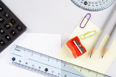 Scientific supplies. Scientific supplies, school or office background Royalty Free Stock Photography