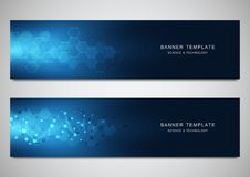 Scientific and technological vector banners. Abstract background with molecular structures. Scientific and technological vector banners. Abstract background royalty free illustration