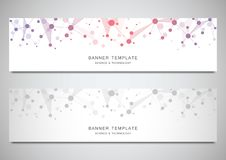 Scientific and technological vector banners. Abstract background with molecular structures. Scientific and technological vector banners. Abstract background vector illustration