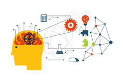 Scientific technology, engineering and mathematics internet concept with flat icons. Royalty Free Stock Photos