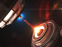 Scientific technology of the future laser from particles. 3d illustration Royalty Free Stock Image