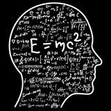 Scientific thinking. Outline of head filling math and physics formulas. Can illustrate topics related to science. Scientific thinking. Outline of head filling Stock Photo