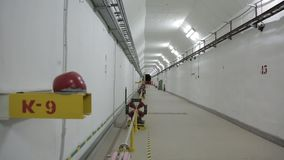 Bunker collider. Scientific underground tunnel linear perspective stock video footage