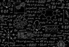 Scientific vector endless texture with chemical and physical formulas, tasks, plots Stock Photos