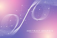 Scientific vector illustration genetic engineering and gene manipulation concept. DNA helix, DNA strand, molecule or. Atom, neurons. Abstract structure for Royalty Free Illustration