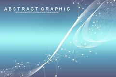 Scientific vector illustration genetic engineering and gene manipulation concept. DNA helix, DNA strand, molecule or. Atom, neurons. Abstract structure for stock illustration