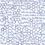 Scientific vector seamless texture with equations and formulas of chemical combinations Royalty Free Stock Images