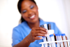 Scientific woman working with test tube Royalty Free Stock Photo