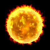 Sun isolated on black background. Scientifically accurate realistic illustration of the Sun isolated on black background, 3D illustration Royalty Free Stock Image