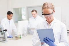 Scientifique à l'aide du comprimé tandis que collègues travaillant derrière Photos stock