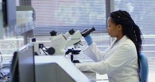 Scientifique à l'aide du microscope dans le laboratoire 4k clips vidéos