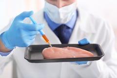 Scientifique avec l'échantillon de examen de viande de seringue dans le laboratoire photographie stock libre de droits