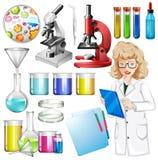 Scientifique avec l'équipement de la science illustration stock