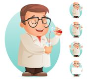 Scientifique avec l'illustration mobile de vecteur de jeu d'icône de rétro de la bande dessinée 3d caractère de laboratoire de co Image libre de droits